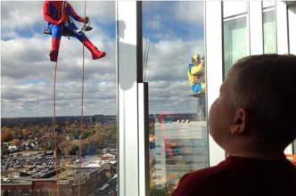 11-07-2014 super heroe window washers at Nationwide children's hospital